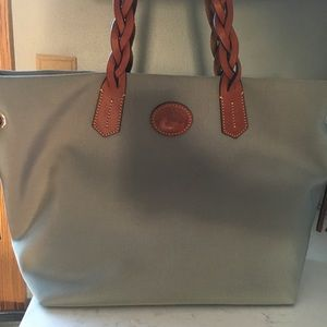 Dooney & Bourke Grey Nylon Tote Bag Leather Trim